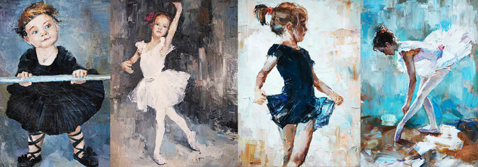 oil painting, girl ballerina. drawn cute ballerina dancing 4 in 1 collage