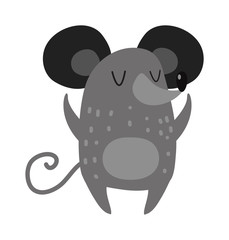 Cartoon smiling gray hand drawn mouse arms outstretched cute rat vector.