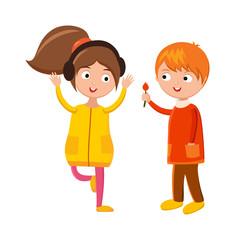 Little boy flower and girl headphones cute children waving hand cartoon character vector.