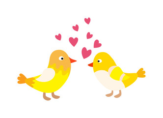 Couple of cute love birds nature sweet comic cartoon vector.