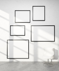 Five frames on wall