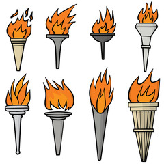 vector set of fire torch