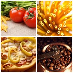 Collage of italian food