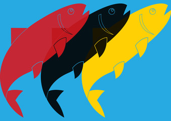 Poissons pop art