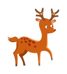 Cute deer cartoon running wild character vector.