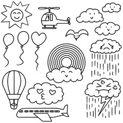 vector set of things in the sky