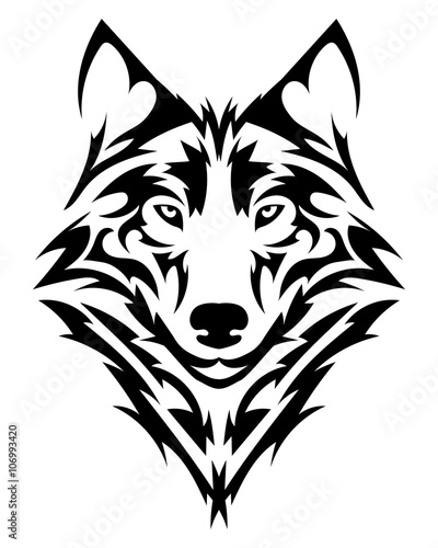 """Wallpapers Tribal Animals Animal Tattoo 1024x1024: """"Beautiful Wolf Tattoo.Vector Wolf's Head As A Design"""