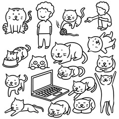 vector set of man and cat