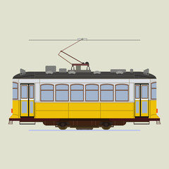 Vintage tram. Retro tram. Flat tram. Detailed tram. Side view tram. Touristic tramway. Yellow tram