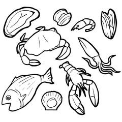 vector set of seafood
