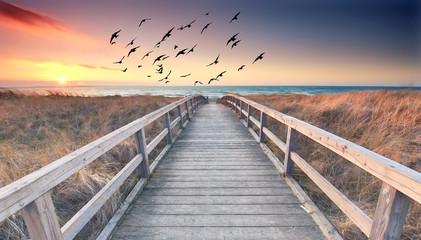 langer Holzweg zum Meer - Sonnenuntergang am Ostseestrand