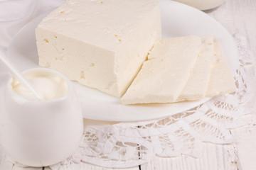 fresh sour cream and  quark