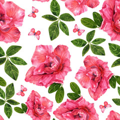 Watercolor seamless pattern of pink rhododendron flowers and butterflies