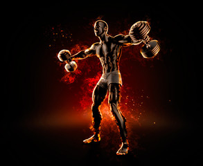 Handsome bodybuilder with dumbbells. 3d illustration