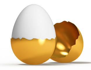 golden egg on white background