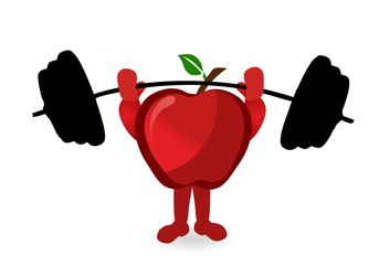 red apple - lifting weights