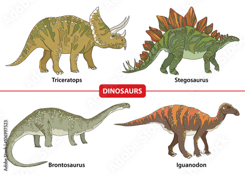Set with Triceratops, Stegosaurus, Brontosaurus and Iguanodon isolated on white background. Series of prehistoric dinosaurs. Fossil animals and reptiles in contour style.