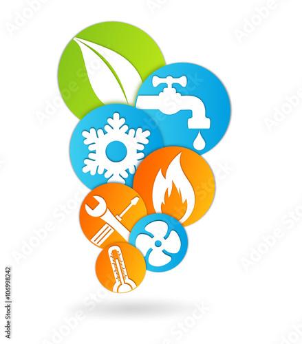 logo plombier climatisation chauffage fichier vectoriel libre de droits sur la banque d 39 images. Black Bedroom Furniture Sets. Home Design Ideas