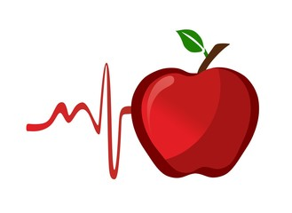 healthy red apple with pulse