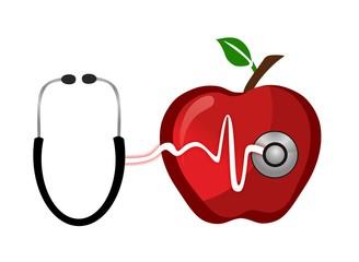 healthy red apple with pulse and stethoscope