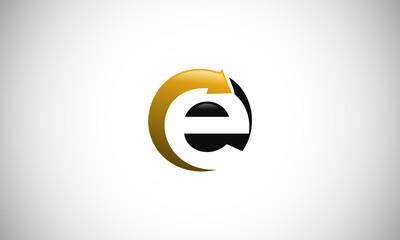 letter E abstract arrow logo