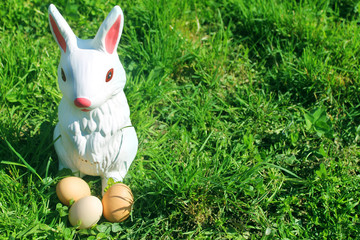 artificial rabbit with easter eggs