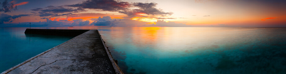 fantastic panorama dramatic dawn landscape sea beach tropical island Maldives