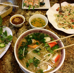 Juicy delicious Vietnamese food with pho-ha, fried rice and shrimp rolls