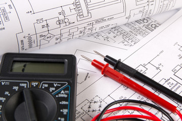 electrical engineering drawings and digital multimeter