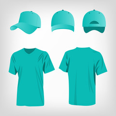 Turquoise cap and t-shirt vector set