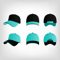 Turquoise black cap vector set