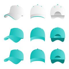 Turquoise cap vector set