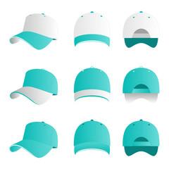 Turquoise white cap vector set