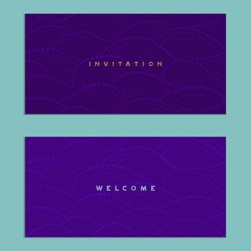 Two invitations cards on a purple background with waves ornament - vector illustration