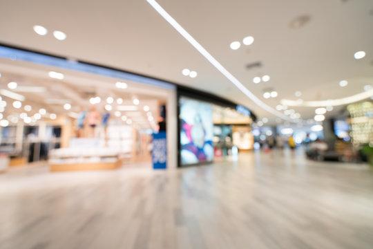 Blurred, defocused background of modern department store
