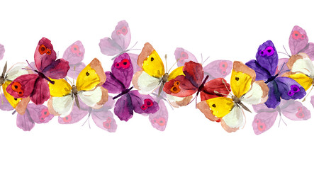 Seamless banner strip with butterflies isolated on white - watercolor