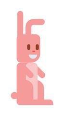 Pink toy bunny rabbit sitting cute easter animal cartoon vector.