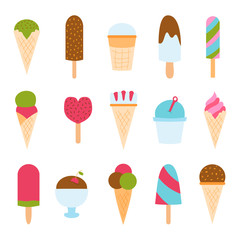 Set of ice cartoon colorful cream desserts vector illustrations.