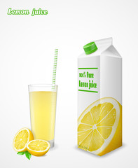 Glass of fresh orange lemon and paper pack isolated on white bac