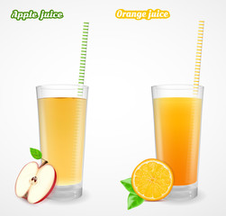 Apple and orange juice in a glass. Vector illustration.