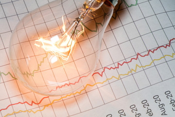 business chart and light bulb