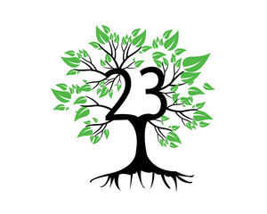 23rd Anniversary Tree Logo Icon Template