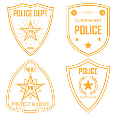 Set of police law enforcement badges and logo patches. vector. police emblem. gold edition