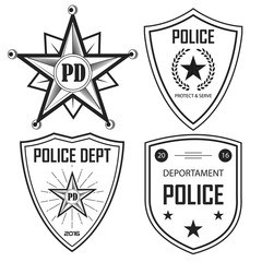 Set of police law enforcement badges and logo patches. vector. police emblem.