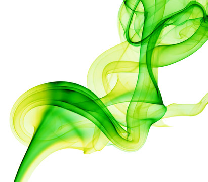 green and yellow smoke on the white background