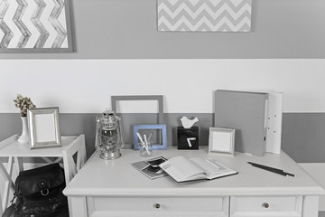 Stylish workplace at home, closeup
