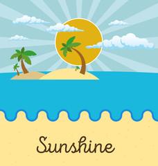 Summer beach scene: sun, clouds in the sky, palms. Flat style.