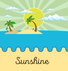 Summer beach scene: sun, clouds in the sky, palms. Flat style.