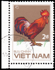 Stamp printed in Vetnam shows Ri rooster