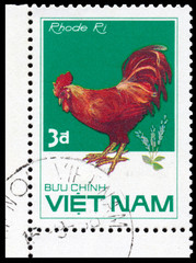 Stamp printed in Vetnam shows Rhode Ri rooster